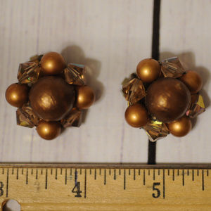 vintage cluster earrings gold brass tone beads